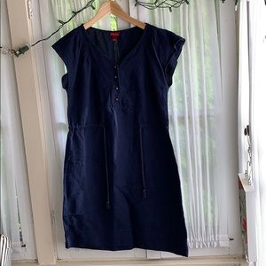 Linen navy blue summer dress